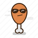 chicken, chicken leg, cool, emoji, emoticon, expression, fast food, fried, goggles, junk food, sunglasses icon