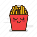 cute, emoji, emoticon, expression, fast food, french, fries, junk food, potato, smiling icon