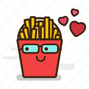 emoji, emoticon, expression, fast food, french, fries, galsses, geek, junk food, nerd, potato, spectacles icon