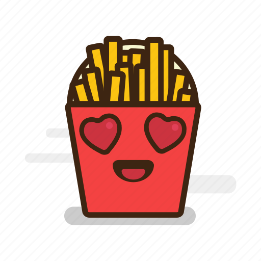 emoji, emoticon, expression, fast food, french, fries, heart, junk food, love, potatoes, valentine icon