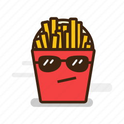 cool, emoji, emoticon, expression, fast food, french, fries, goggles, junk food, potato, sunglasses icon