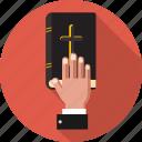 bible, hand, catholic, christian, court, cross, religion