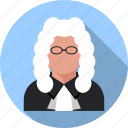 bailiff, court, judge, justice, lawer, men, person icon