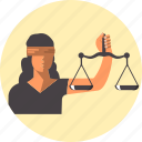 balance, female, femida, justice, law, libra icon