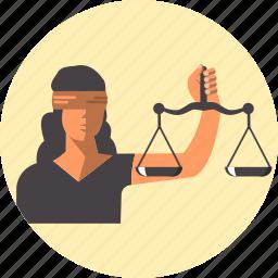 balance, female, femida, justice, law, libra icon