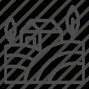 summer, relax, land, landscape, tree, house, farm