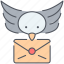 bird, communication, delivery, envelope, letter, message, speech icon