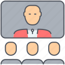 communication, conference, meeting, remote, speech, talk, video icon