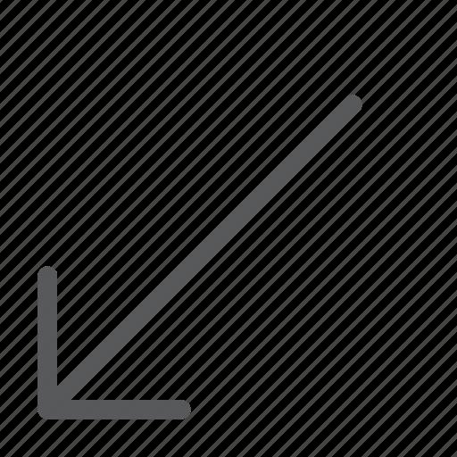 arrow, diagonal, down, keyboard, left, move, scroll icon
