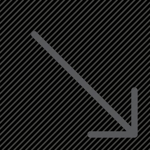 arrow, diagonal, down, keyboard, move, right, scroll icon