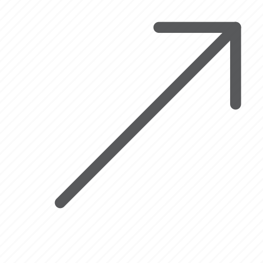 arrow, diagonal, keyboard, move, movement, right, scroll, up icon