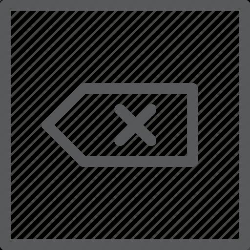 box, cancel, delete, key, keyboard, press, square icon