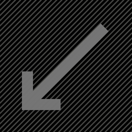 arrow, controls, diagonal, key, keyboard, left, sign, type icon