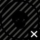 biometry, eye, head, man, person, stop, view icon