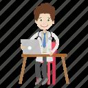 boy, computer, doctor, physician icon