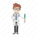 boy, doctor, physician, syringe icon