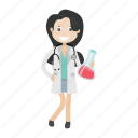 doctor, girl, lab, physician icon