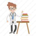 books, boy, doctor, kid, physician icon
