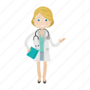 book, doctor, girl, kid, physician icon