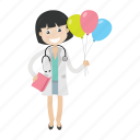 balloon, doctor, girl, kid, physician icon