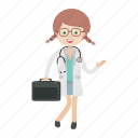 doctor, girl, kid, physician icon