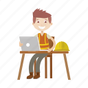 architect, boy, engineer, laptop, worker icon