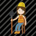 engineer, girl, labour, shovel icon