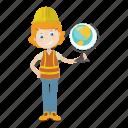 architect, engineer, geologist, globe icon