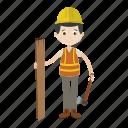 architect, boy, engineer, tools icon