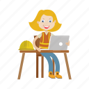 architect, engineer, girl, laptop, working icon
