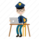 computer, officer, police, working icon