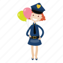 cartoon, girl, officer, police icon