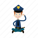 boy, kid, officer, police, sitting icon