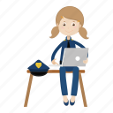 girl, laptop, officer, police, uniform icon
