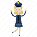 girl, officer, police, uniform icon