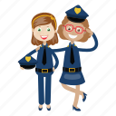 girls, kid, officer, police, uniform icon