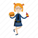 girl, hamburger, kid, officer, police icon