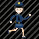 girl, officer, police, running