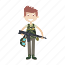 army, cartoon, gun, military, soldier icon