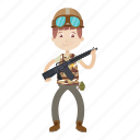 cartoon, gi, gun, soldier icon