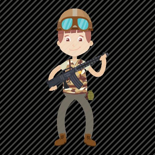 cartoon, gi, gun, soldier icon