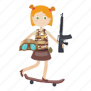 cartoon, girl, gun, scooter, soldier icon