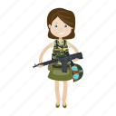 cartoon, girl, kid, soldier icon