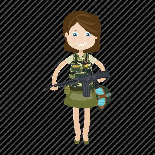cartoon, girl, kid, soldier icon