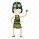 army, cartoon, girl, soldier icon