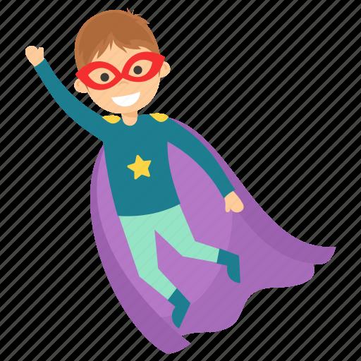 child superhero, comic superhero, superhero cartoon, superhero kid, superman flying icon