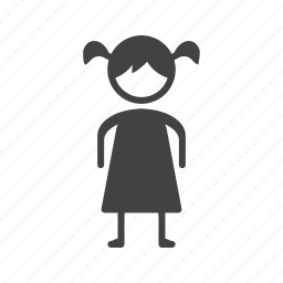 child, girl, happy, kid, little, standing, young icon