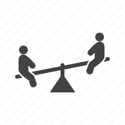 happy, kids, park, playground, playing, seesaw, sitting icon