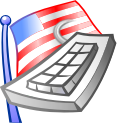 flag, keyboard