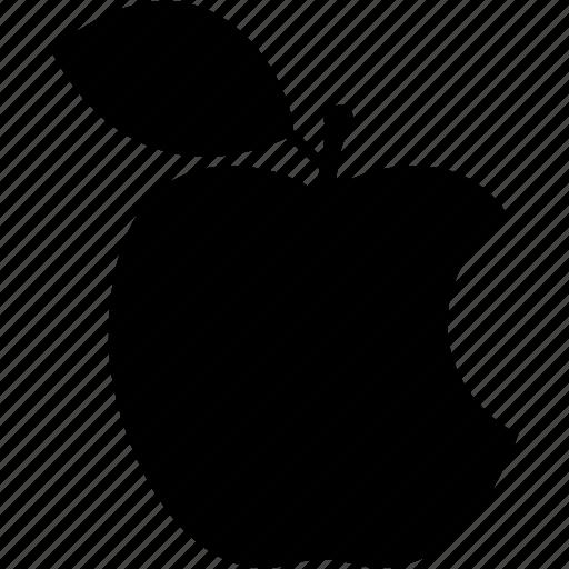apple, bited, food, fruit, leaf, sweet, vegetarian icon